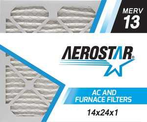 Aerostar 14x24x1 MERV  13,  Air Filter, 14x24x1, Box of 4