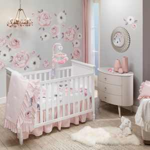 Lambs & Ivy Infant Newborn Rose Cotton Reversible Bedding Sets, Crib, White, 5-Pieces