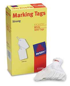 "Avery  Marking Tags, Strung, 1-3/4"" x 1-3/32"", 1,000 Tags (12204)"