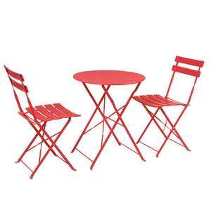 Ubesgoo Patio Mental Bistro Set 3-Piece Red Chat Dining