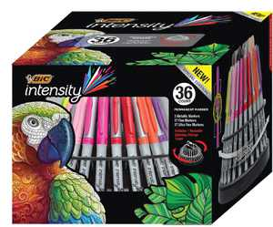 BIC Intensity Permanent Markers Spinning Storage Tower, Metallic Ultra Fine Markers, 36 Count