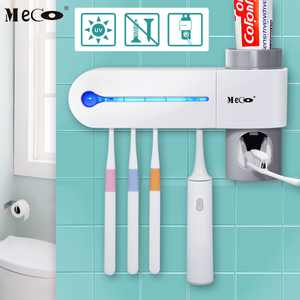 UV Light Toothbrush Toothpaste Dispenser 5 Set Toothbrush Holder Automatic Lazy Wall Mount Stand Cleaner Toothpaste Dispenser Lazy Wall Toothpaste Squeezer with AC Adapter