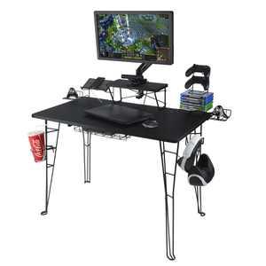 "Atlantic Original Gaming Desk with 32"" Monitor Stand, Charging Station and Gaming Storage, Black Carbon Fiber"