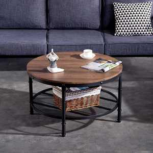 Zimtown Coffee Table for Living Room 2-Tier Vintage Round Coffee Table Grain Black