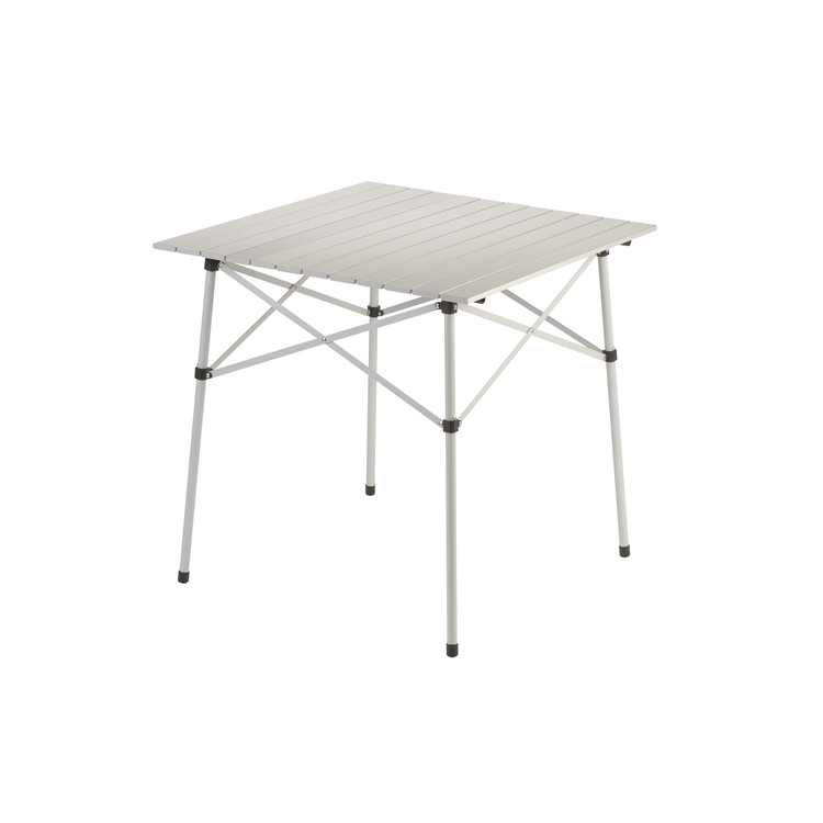 """Coleman Compact 27.6"""" W x 27.6"""" L Roll-Top Aluminum Adult Camping Table, Silver"""