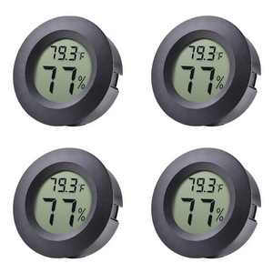 EEEkit 4-Pack Mini Hygrometer Thermometer with Digital Cigar LCD Display Indoor Temperature and Humidity Meter for Home Office Humidifiers Humidors Car Greenhouse Babyroom,Black Round