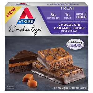 Atkins Endulge Treat, Chocolate Caramel Fudge Dessert Bar, Keto Friendly, 5 Count