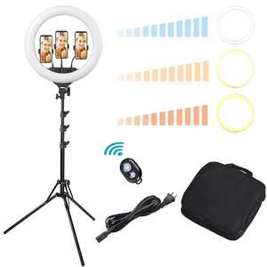 """Yescom 19"""" 240pcs LED Ring Light 3200-5500K White Electric Power with 3 Phone Holder for Live Stream Makeup"""