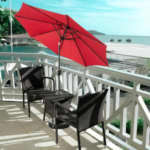 UBesGoo Beach 9FT 8Rib Patio Outdoor Market Sun Aluminum Umbrella Crank Shade RED