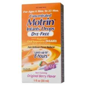 2 Pack - Motrin Concentrated Infants' Drops Dye-Free, Original Berry 1 oz