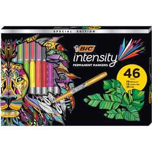 BIC Intensity Permanent Marker Set, Metallic Markers, Ultra Fine and Fine Markers, 46 Count Clam Pack