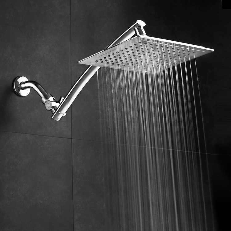 Razor? by AquaSpa Mega Size 9-inch Chrome Face Square Rainfall Shower with Arch Design 15-inch Stainless Steel Extension Arm / Premium Chrome