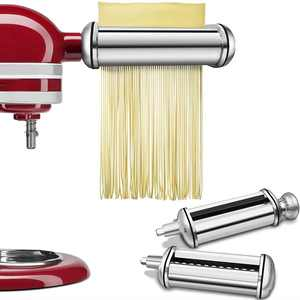 KENOME 3-Piece Pasta Roller and Cutter Attachment Set for KitchenAid Stand Mixers Silver