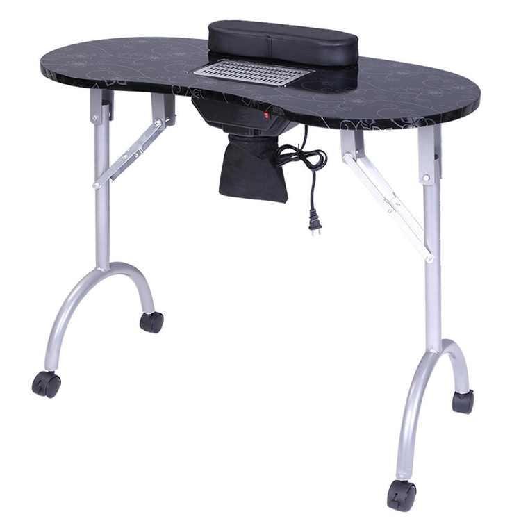 Ktaxon Portable Nail Manicure Table Desk W/ Cushion Carry Bag Black Foldable