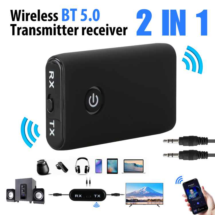 TSV Bluetooth Receiver and Transmitter for TV/Speaker/Amplifier, Portable Bluetooth 5.0 Stereo Receiver 3.5mm Audio Adapter for Home/Car Sound System, About 10m Connection Range