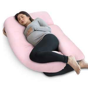 PharMeDoc Full Body Pregnancy Pillow - U Shaped Body Pillow - Maternity Pillow for Pregnant Women with Detachable Extension, Light Pink