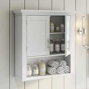 RiverRidge Home Somerset Collection 2-Door Bathroom Storage Wall Cabinet with 1 Open Shelf and 2 Interior Shelves, White