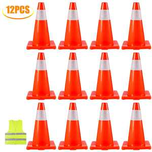 """VEVOR Traffic Cones 12Pack 18"""", Safety Road Parking Cones PVC Base, Orange Traffic Cone with Reflective Collars, Hazard Construction Cones for Home Traffic Parking"""