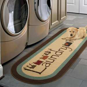 """Ottomanson Laundry Non Slip with Rubberbacking Room Runner Rug, Multi-color, 20"""" X 59"""" Oval"""