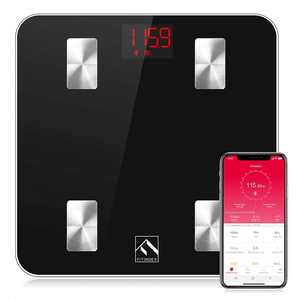 FITINDEX Smart Body Fat Weight Scale, Bluetooth Digital Bathroom Scale, Wireless Body Scale, Body Composition Monitor with Smartphone App for Body Weight, Body Fat, Muscle Mass, 396lbs - Black