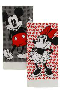 """Disney 100% Cotton Kitchen Towels, 2pk-Soft and Absorbent Decorative Kitchen Towels Perfect for Drying Dishes and Hands, 16"""" x 28""""- Mickey Dots & Minnie Bows"""