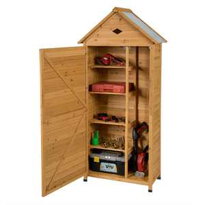 Gymax Outdoor Storage Shed Lockable Wooden Garden Tool Storage Cabinet W/ Shelves
