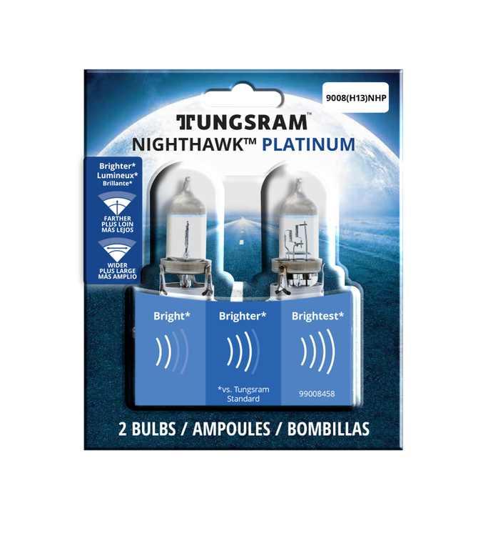Tungsram 9008 (H13) Nighthawk Platinum Halogen Bulb, 2-pack