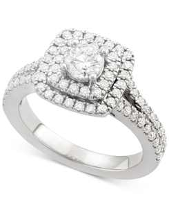 Certified Diamond Square Halo Engagement Ring (1-1/4 ct. t.w.) in 18k White Yellow or Rose Gold, Created for Macy's