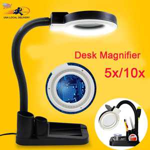 40 LED Stand Magnifier 5X 10X Illuminated Lighting Adjustable Magnifying glass Table Lamp LED Energy-saving Magnifier Light Built-in Magnifying Glass for Low Vision Aid Reading, Jewelery Loupe