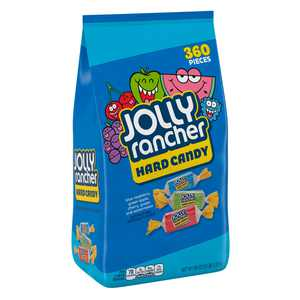 JOLLY RANCHER, Assorted Fruit Flavored Hard Candy, Individually Wrapped, 5 lb, Bag, 360 Pieces