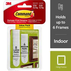 Command Picture Hanging Strips 24/Pkg-8 Medium Strips & 16 Large Strips