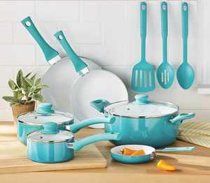 Mainstays Ceramic Nonstick 12 Piece Cookware Set, Teal Ombre
