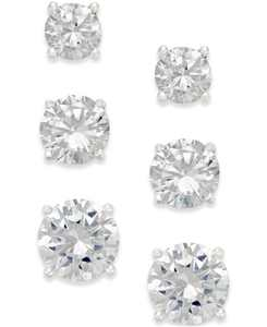Cubic Zirconia Stud Earring Set in 18k Gold over Sterling Silver or Sterling Silver, Created for Macy's