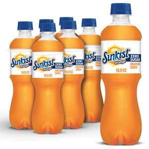 Sunkist Zero Sugar Orange Soda, .5 L bottles, 6 pack