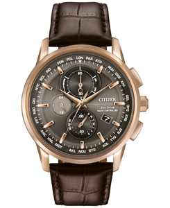 Men's World Chronograph Time AT Eco-Drive Brown Leather Strap Watch 43mm AT8113-04H