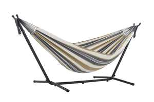 Vivere Double Hammock with Stand Combo - Deluxe Natural with Fringe
