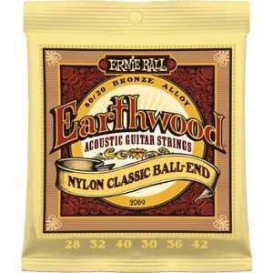Ernie Ball 2069 Earthwood Folk Nylon, Clear and Gold Ball End Acoustic/Classical Guitar Strings, 28-42