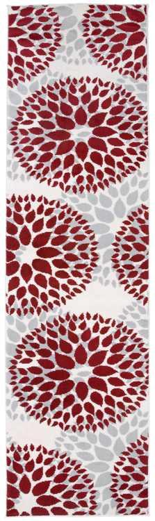 """Modern Floral Design Red 2' X 7' 2"""" Runner Rug"""