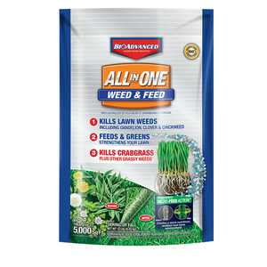 BioAdvanced All-in-One Weed & Feed 5M, Granules, 12-Pounds