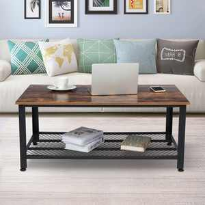 Industrial Coffee Table with Storage for Living Room Cocktail end tables Wood Furniture with Metal Frame
