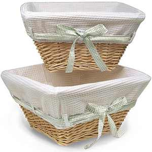 Badger Basket Natural Wicker Nursery Baskets with White Liners, 2pk