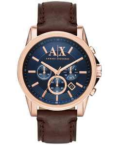 Men's Chronograph Dark Brown Leather Strap Watch 45mm AX2508