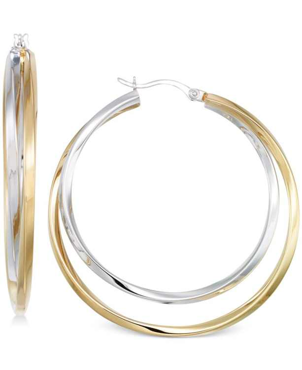 Interlocking Hoop Earrings in 14k Gold Over Silver and 14k White Gold Over Silver