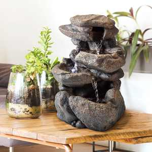 """Alpine Corporation 11"""" Indoor & Outdoor Tabletop Rock Fountain with LED Light"""