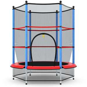 """Costway 55"""" Youth Jumping Round Trampoline with Safety Pad Enclosure"""