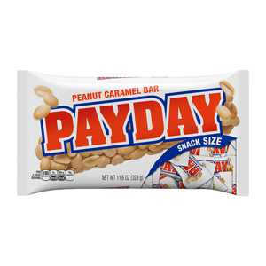 PAYDAY, Peanut and Caramel Snack Size Candy Bars, Individually Wrapped, 11.6 oz, Bag
