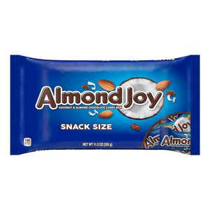 ALMOND JOY, Coconut and Almond Chocolate Snack Size Candy Bars, Individually Wrapped, 11.3 oz, Bag