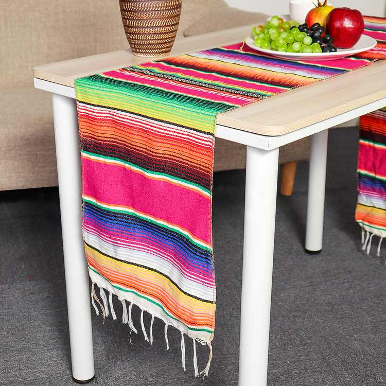 Reversible Mexican Table Runner Tablecloth with Tassels for Mexican Home Fiesta Party Decorations Outdoor Wedding Ceremony, 14''W x 84''L Fringe Cotton Serape Blanket - Red