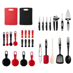 Farberware Professional 30-piece Black and Red Kitchen Tool and Gadget Starter Set