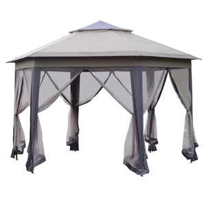 Outsunny 12 Hexagonal Pop Up Gazebo with Mesh Sidewalls, Patio Steel Fabric Canopy, Coffee and Beige